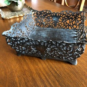 Victorian style square metal tray or planter